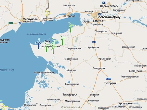 Российская Ассоциация Ветроиндустрии разместила в открытом доступе реестр (карту) проектов ветропарков России.