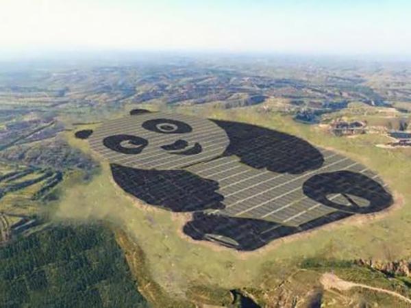 В Китае построили огромную солнечную электростанцию в форме панды